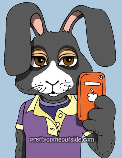 Bunny with orange iphone